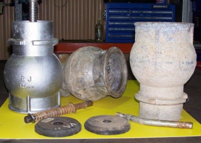Special machine tool was designed to refurbish cane irrigator hydrants. Right - before, Left - after