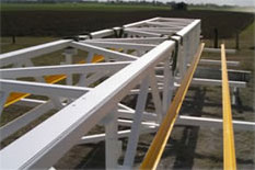 Painted gantry with hand rails